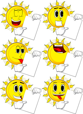 Cartoon sun holding white paper and pointing at it. Collection with happy faces. Expressions vector set.
