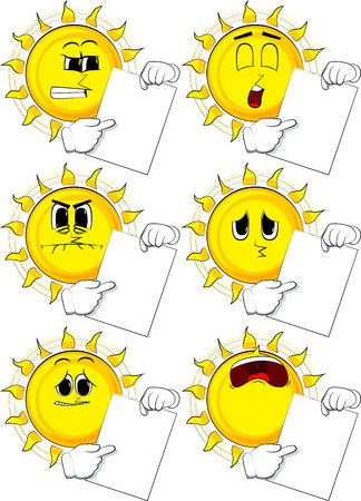 Cartoon sun holding white paper and pointing at it and different Expressions vector set. Illustration