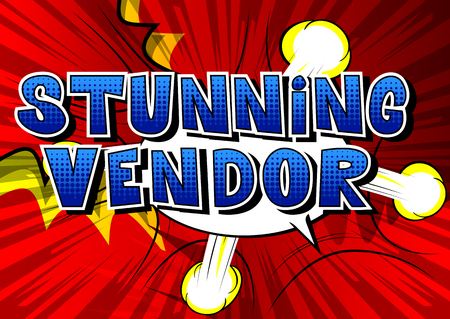 Stunning Vendor - Comic book style word on abstract background.