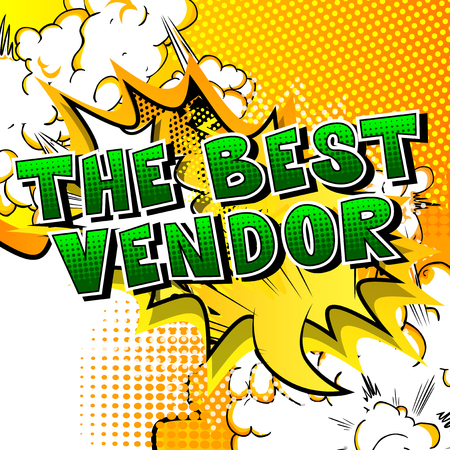 The Best Vendor - Comic book style word on abstract background. Çizim