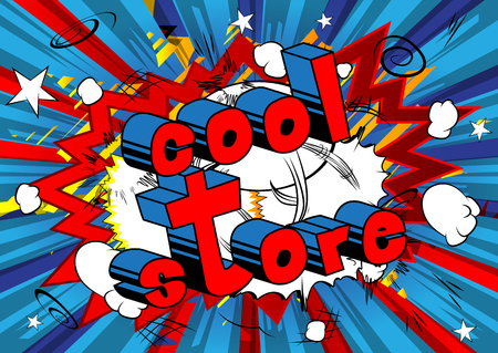 Comic book style word on abstract background with cool store text Ilustração