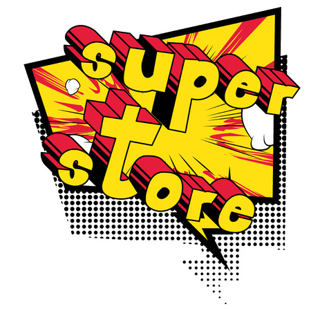 Comic book style word on abstract background with store text Иллюстрация