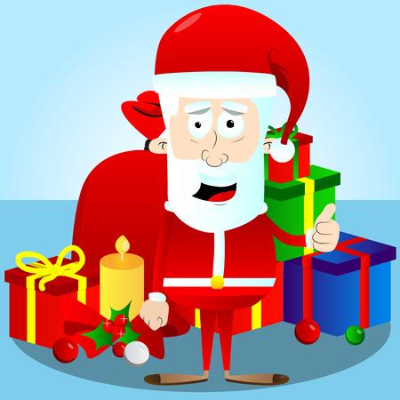 Santa Claus character with thumb up gesture. Vector cartoon illustration.