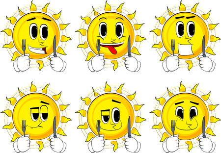Cartoon sun holding up a knife and fork. Collection with happy faces. Expressions vector set.