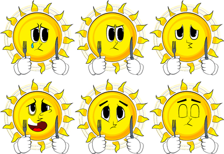 Cartoon sun holding up a knife and fork. Collection with sad faces. Expressions vector set. Ilustração