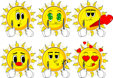 Cartoon sun holding up a knife and fork. Collection with various facial expressions. Vector set.