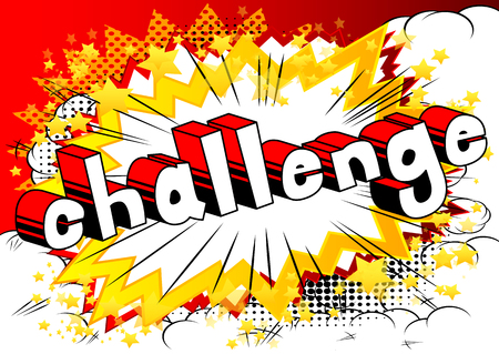 Challenge - Comic book style word on abstract background.
