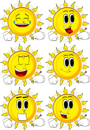 Cartoon sun writing with pencil. Collection with happy faces. Expressions vector set. Illustration