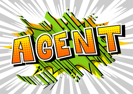 Agent - Comic book style word on abstract background.
