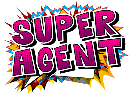 traders: Super Agent - Comic book style word on abstract background.