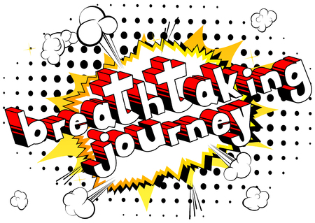 Comic book style word on abstract background with words breathtaking journey Çizim