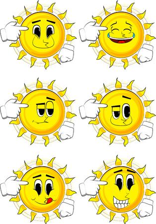 漫画の太陽は、彼の頭に架空銃を置きます。