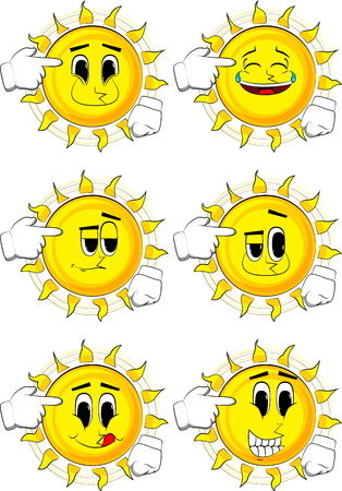 Cartoon sun put an imaginary gun to his head. 向量圖像