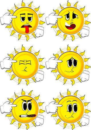 Cartoon sun put an imaginary gun to his head. Illustration