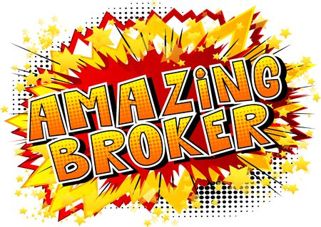 Amazing Broker - Comic book style word on abstract background. Иллюстрация