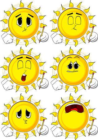 Cartoon sun writing with pencil. Collection with angry faces. Expressions vector set.
