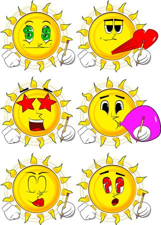 漫画太陽を鉛筆で書く。様々 な表情を持つコレクション。ベクトルを設定します。  イラスト・ベクター素材