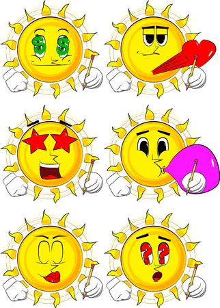 Cartoon sun writing with pencil. Collection with various facial expressions. Vector set. Illustration