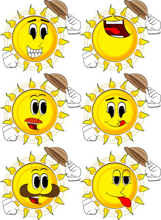Cartoon sun tipping his hat. Collection with happy faces. Expressions vector set. Illustration