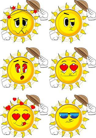 Cartoon sun tipping his hat. Collection with various facial expressions. Vector set. Illustration