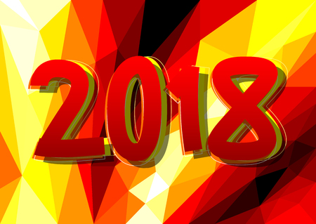 Creative happy new year 2018 design card on modern background. Vector illustration.