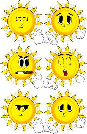 Cartoon sun making friendzone symbol. Collection with sad faces. Expressions vector set. Illustration