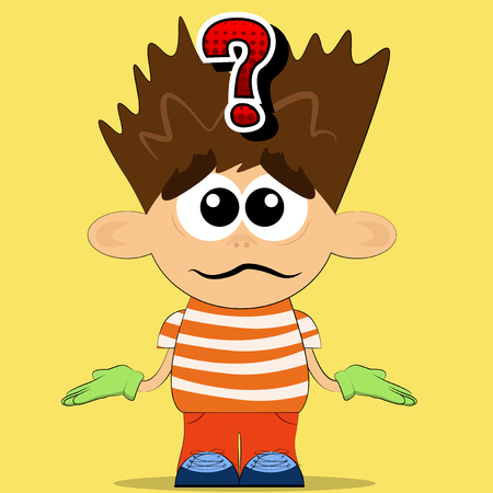 Vector illustrated cartoon boy with don't know gesture.