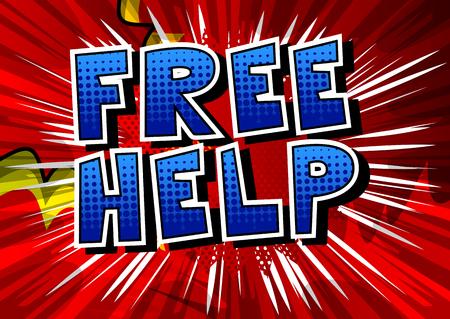 무료 도움말 - 추상적 인 배경에 만화 스타일 문구. 스톡 콘텐츠 - 89773470