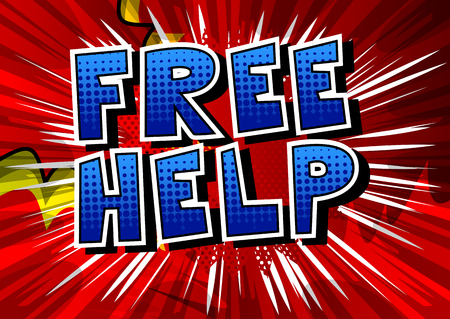 Free Help - Comic book style phrase on abstract background. Vectores