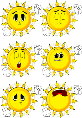 Cartoon sun making power to the people fist gesture. Collection with sad faces. Expressions vector set. Stock Vector - 89760519