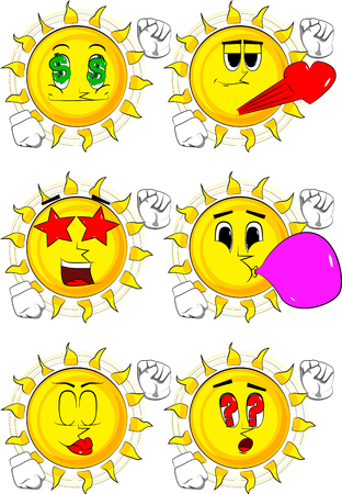 Cartoon sun making power to the people fist gesture. Collection with various facial expressions.