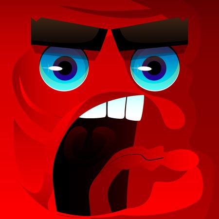 Angry face with aggressive facial expression. Vector cartoon illustration. Ilustração