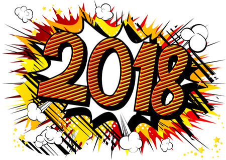 Creative Happy New Year 2018 design card on comic book background.