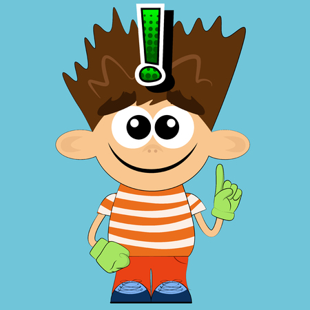 Vector illustrated cartoon boy with I know gesture.