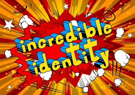 Incredible Identity, Comic book style word on abstract background. Ilustração