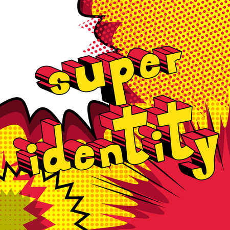 Super Identity, Comic book style word on abstract background. 向量圖像