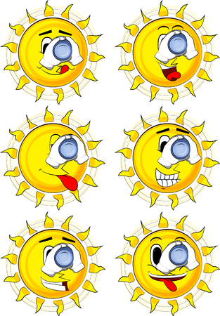 Cartoon sun holding binoculars in his hands. Collection with happy faces. Expressions vector set.
