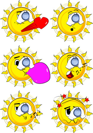 Cartoon sun holding binoculars in his hands. Collection with various facial expressions. Vector set. Ilustrace