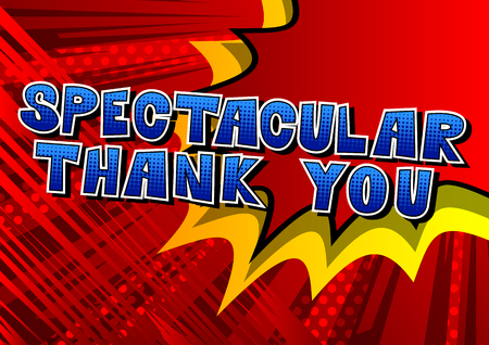 Spectacular Thank You - Comic book style word on abstract background. Çizim