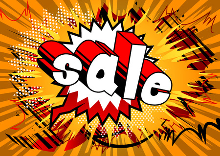 Sale - Comic book style word on abstract background.