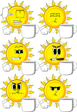 Collection of sun with different expressions Illustration