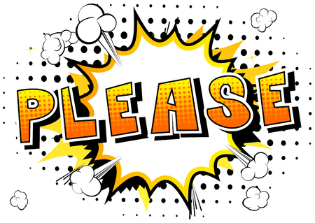 Please - Comic book style word on abstract background. Imagens - 90297253