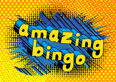 Amazing Bingo - Comic book style word on abstract background.