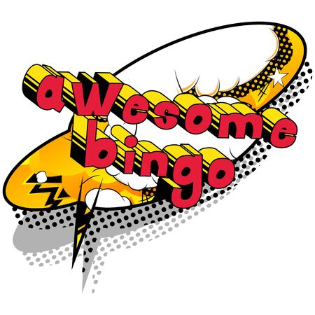 Awesome Bingo - Comic book style word on abstract background.