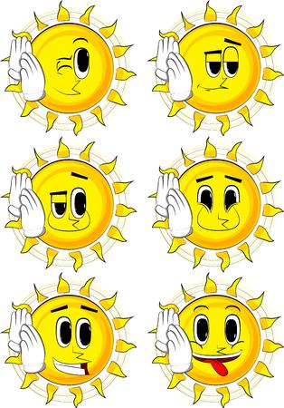Cartoon zon houdt beide hand aan zijn oor, luisterend. Verzameling met blije gezichten. Expressies vector set. Stock Illustratie