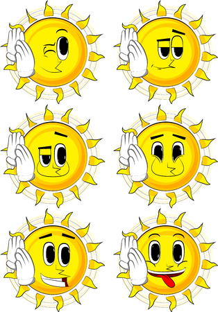 Cartoon sun holds both hand at his ear, listening. Collection with happy faces. Expressions vector set. Illustration