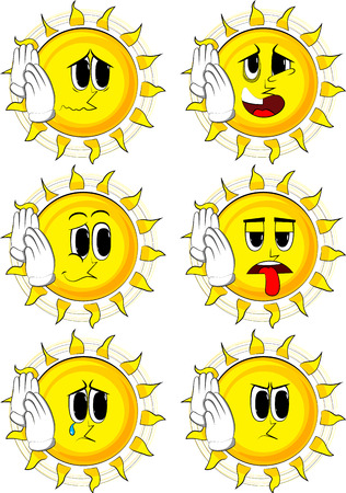 Cartoon sun holds both hand at his ear, listening. Collection with sad faces. Expressions vector set.