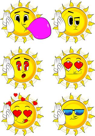 Cartoon zon houdt beide hand aan zijn oor, luisterend. Verzameling met verschillende gezichtsuitdrukkingen.