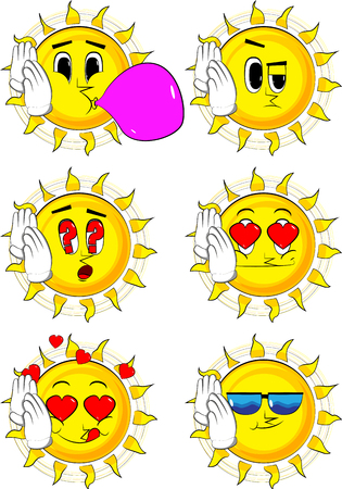 Cartoon sun holds both hand at his ear, listening. Collection with various facial expressions. Illustration