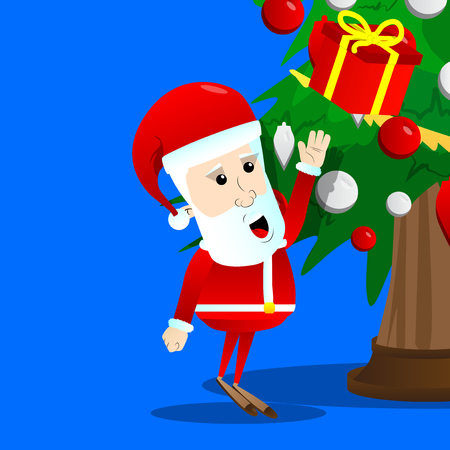 Santa Claus reach out for a gift box on a Christmas tree. Vector cartoon character illustration.